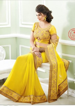 Yellow Embroidered Festive Designer Georgette Saree