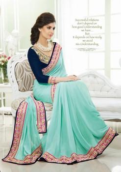Light Blue Royal Blue & Magenta Festive Designer Georgette Saree