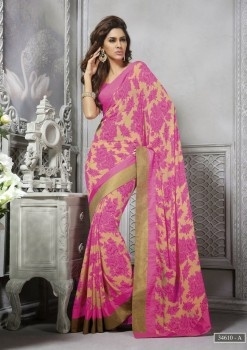 Beige with Pink Floral Designer Georgette Saree