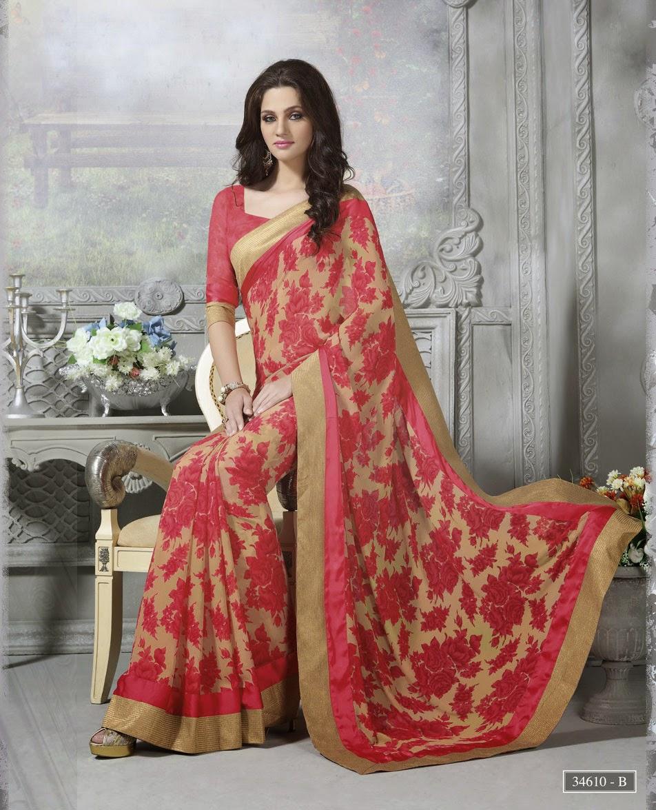 f56d6e34b42 Beige with Red Floral Designer Georgette Saree 1