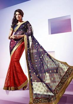 Blue & Red Festive Designer Georgette Saree
