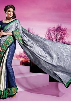 Blue & White Festive Designer Georgette Saree