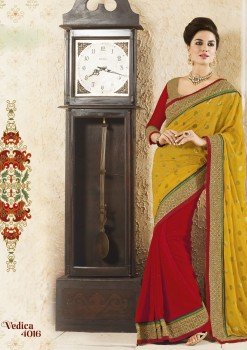 Yellow & Red Party Wear Georgette Saree