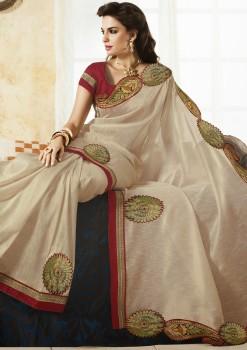 Elegant White Raw Silk Saree