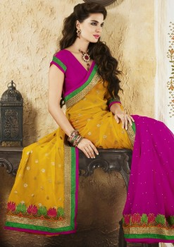 Yellow & Purple Embroidered Georgette Saree