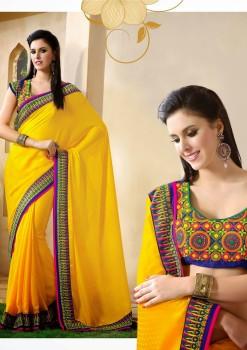 Yellow Embroidered Festive Designer Saree