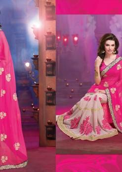 Pink & Cream Alluring beautiful Designer Saree