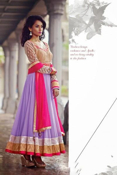 Beige & Purple Charming Diva Long Anarkali Designer Party-Wear 1