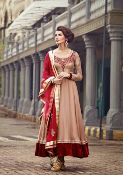 Beige Velvet Charming Diva Long Anarkali Designer Party-Wear