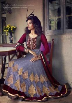 Grey & Maroon Charming Diva Long Anarkali Designer Party-Wear