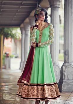 Light Green Velvet Charming Diva Long Anarkali Designer Party-Wear