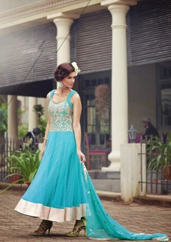 light Blue Charming Diva Long Anarkali Designer Party-Wear