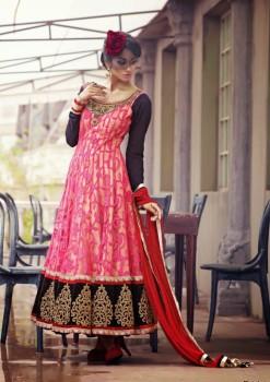 Hot Pink & Black Charming Diva Long Anarkali Designer Party-Wear
