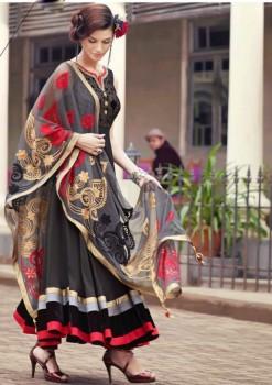Grey Charming Diva Long Anarkali Designer Party-Wear