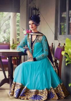 Light Blue & Beige Charming Diva Long Anarkali Designer Party-Wear