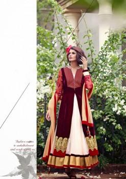 Burgundy Charming Diva Long Anarkali Designer Party-Wear
