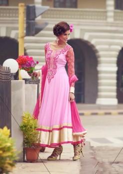 Pink & Magenta Charming Diva Long Anarkali Designer Party-Wear