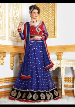 Wonderful Red & Blue Net Lehenga Choli With Sequins Work