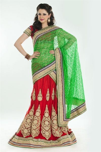 Amazing Red & Green Lehenga Choli 1