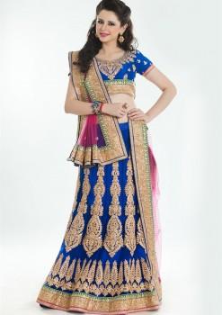 Exclusive Blue Lehenga Choli With Badla Work