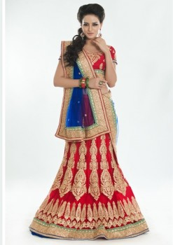 Wedding Wear Red & Blue Lehenga Choli