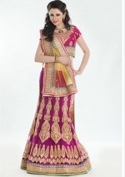 Charming Yellow & Magenta Color Lehenga Choli