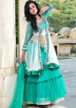 Creative Green & Off White Net Lehenga Choli