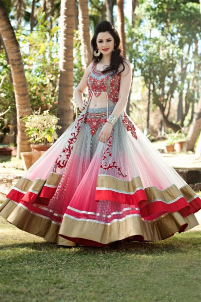 Attractive Grey & Red Color Lehenga Choli 1