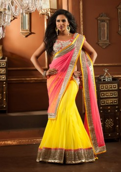 Attractive Peach & Yellow Lehenga Choli