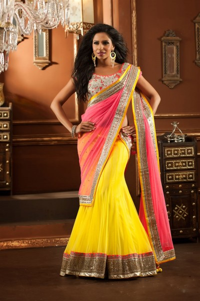 Attractive Peach & Yellow Lehenga Choli 1