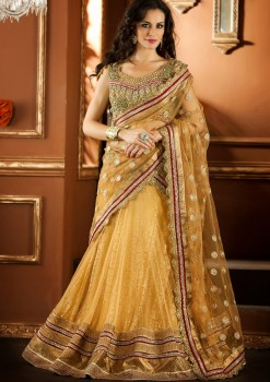Designer Golden Net Lehenga Choli