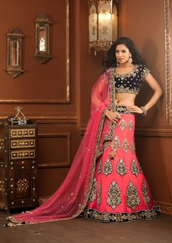 Beautifully Designed Pink And Blue Lehenga Choli