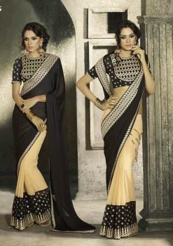 Beige & Black Most Elegant Designer Saree