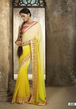 Beige & Yellow Most Elegant Designer Saree