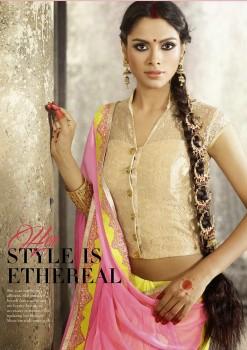 Yellow & Pink Most Elegant Designer Saree