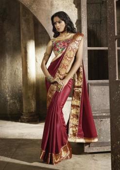 Maroon Most Elegant Designer Saree