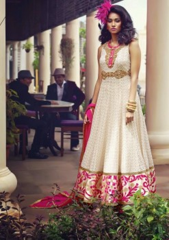 Cream & Magenta  Charming Diva Long Anarkali Designer Party-Wear