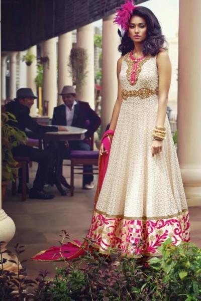 Cream & Magenta  Charming Diva Long Anarkali Designer Party-Wear 1