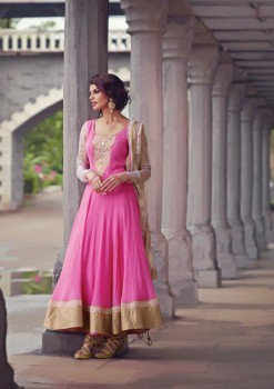 Pink Charming Diva Long Anarkali Designer Party-Wear