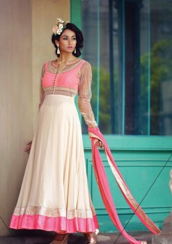 Creamish Pink Charming Diva Long Anarkali Designer Party-Wear