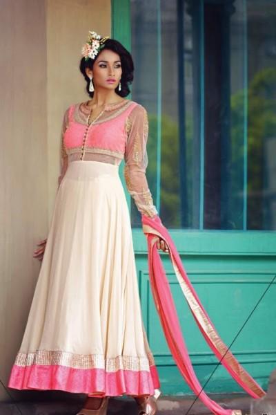 Creamish Pink Charming Diva Long Anarkali Designer Party-Wear 1