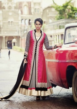Dark Pink Charming Diva Long Anarkali Designer Party-Wear