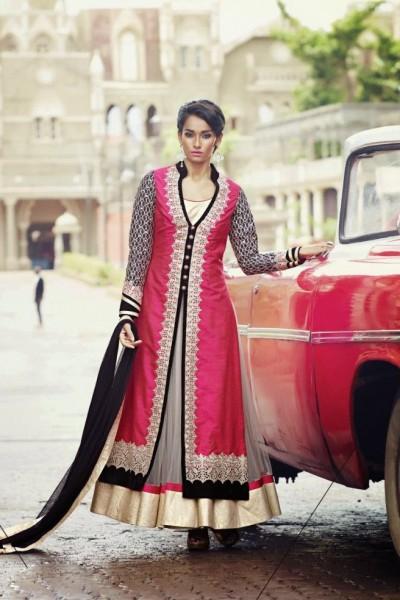 Dark Pink Charming Diva Long Anarkali Designer Party-Wear 1