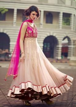 Magenta & Beige Charming Diva Long Anarkali Designer Party-Wear