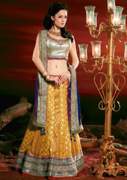 Charming Yellow & Blue Silk Lehenga Choli