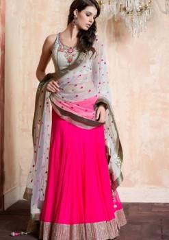 White & Pink Net Lehenga Choli