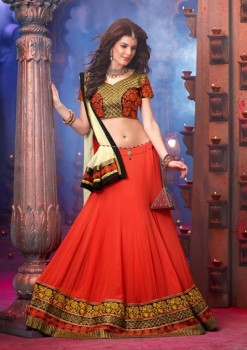 Beautiful Orange And Cream Lehenga Choli