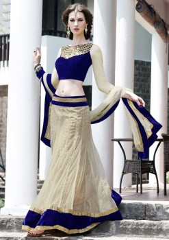 Blue & Beige Color Lehenga Choli