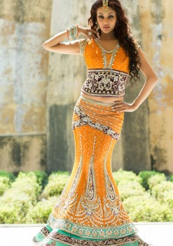 Beautiful Orange Net Lehenga Choli