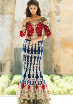 Amazing Navy Blue & Red Velvet Lehenga Choli